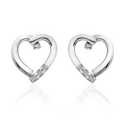 Zilveren hart oorbellen met diamant