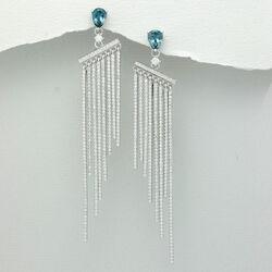 Geweldige Lange Zilveren Oorbellen Topaas Zirkonia