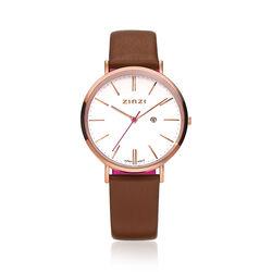 Zinzi Retro Horloge Cognac Band Witte Wijzerplaat Rose Kast Ziw408