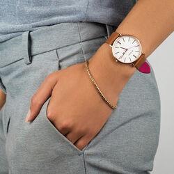 Retro horloge rosé met bruin leren band ZIW408 Zinzi