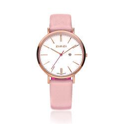 Zinzi Retro Horloge Roze Band Witte Wijzerplaat Rose Kast Ziw408r