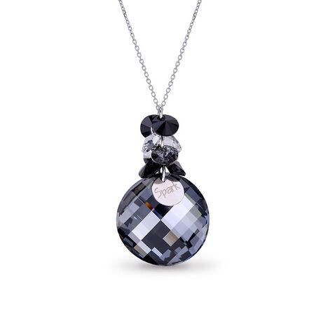 Zilveren ketting zwart grijs swarovski kristal hanger luna dives Spark