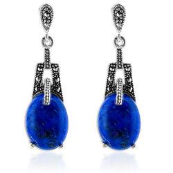 Zilveren Oorhangers Markasiet Lapis Lazuli