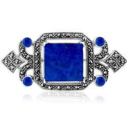 Zilveren Broche En Hanger Markasiet Lapis Lazuli