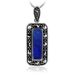 Zilveren Hangertje Markasiet Met Lapis Lazuli