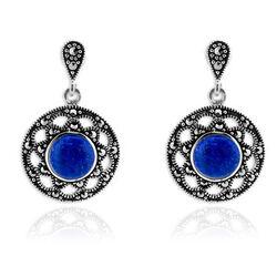 Markasiet Oorbellen Met Lapis Lazuli