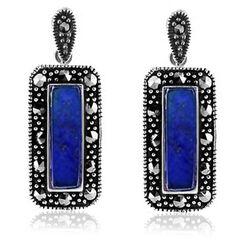 Rechthoekige Zilveren Oorbellen Markasiet Lapis Lazuli