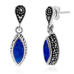 Markasiet oorstekers met Lapis Lazuli