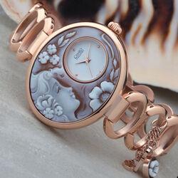 Rosé verguld schakelband horloge met camee kast