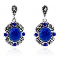 Oorbellen Zilver Markasiet En Lapis Lazuli