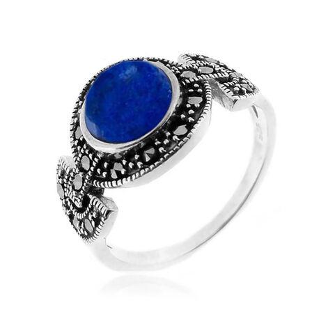 Zilveren ring met markasiet en lapis lazuli