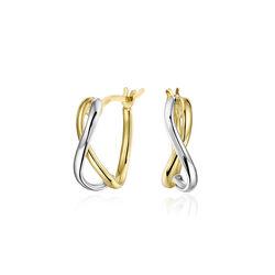 Bicolor gouden oorstekers halve creolen
