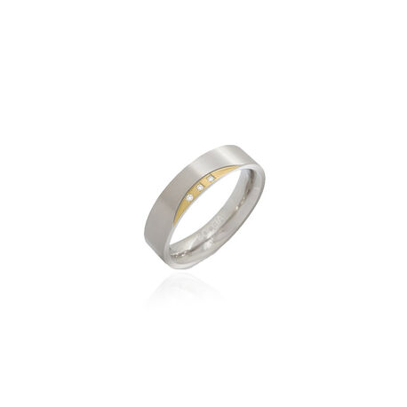 Boccia ring titanium deels verguld met diamantjes 0138-04