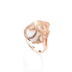 Tatiana Faberge Rose Zilveren Ring Wit Agaat