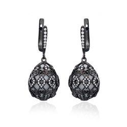 Zilver oorbellen zwart met wit agaat Tatiana Fabergé