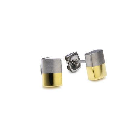 Boccia titanium oorbellen staafjes in goud en zilver kleur 0509-03