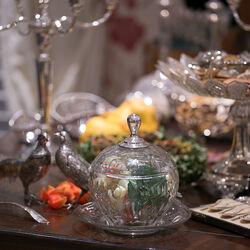 Kristallen Bowlpot Met Zilveren Knop
