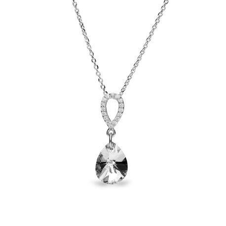 Zilver hanger pear drop crystal Spark