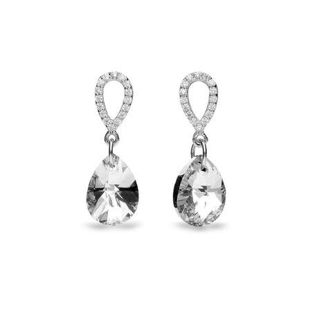 Zilver oorbellen Spark pear drop crystal