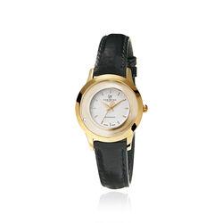 Christina horloge verguld zwarte band 300gwbl