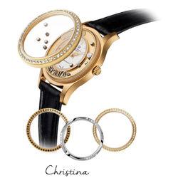 verguld stalen horloge zwarte band Christina 300gwbl