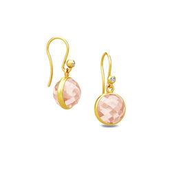 Julie Sandlau verguld zilveren oorbellen zacht roze kristal