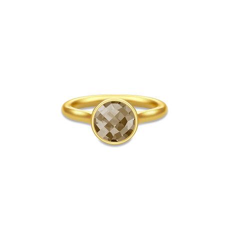 Julie Sandlau Verguld Zilveren Ring Rook Quartz Kristal