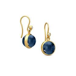 Julie Sandlau Verguld Zilveren Oorbellen Donker Blauw Kristal
