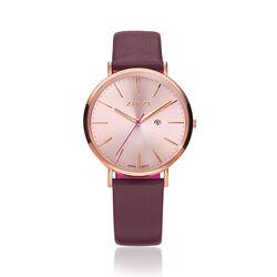 Zinzi Retro Horloge Rose Verguld Met Paars Ziw405p