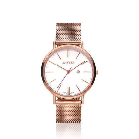 Rosé verguld Zinzi horloge witte wijzerplaat