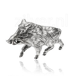 Zilveren tafelstuk zwijn