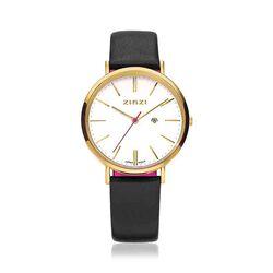 Zinzi Retro Horloge Zwart Leren Band Vergulde Kast Ziw407