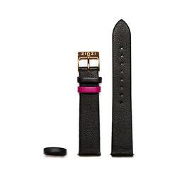 Zinzi leren horlogebandje zwart met rosekleurige sluiting