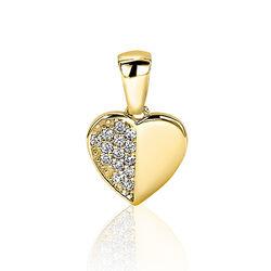 Zinzi Gold gouden harthangertje zirkonia Zgh142