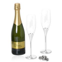 Verzilverde champagneglazen hartjes van Zilverstad