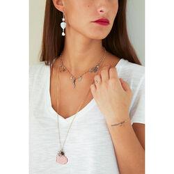 Rosé verguld zilver collier hart met emaille Maman et Sophie