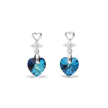 Zilver oorbellen hart bermuda blue Spark petite heart