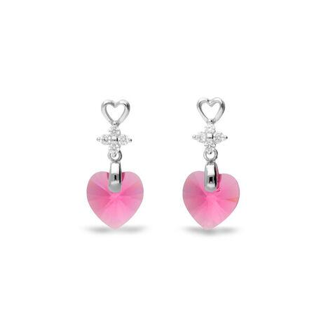Zilver oorbellen hart roze Spark Petite Heart