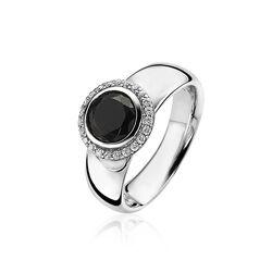 Zinzi zilveren ring zwart witzirkonia zir1244z