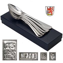 6 antieke zilveren dinerlepels Elberfeld