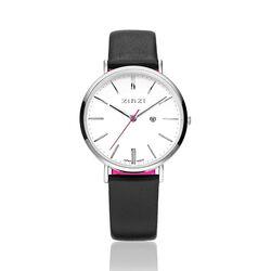 Zinzi Retro Horloge zwarte band witte wijzerplaat ziw406