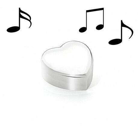 Verzilverde muziekdoos en sieradendoos hart