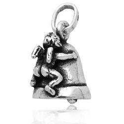 Zilveren charm kerstbel met engel van Raspini