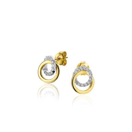 Gouden oorbellen cirkels zirkonia