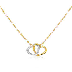 Gouden collier twee harten