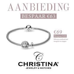 Aanbieding Christina zilveren armband met Margriet en stopper