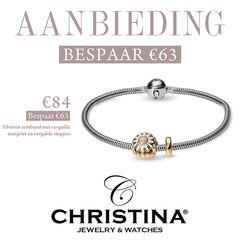 Aanbieding Christina zilveren armband vergulde margriet en stopper