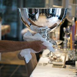 Grote wijnkoeler verzilverd ook champagnekoeler voor 6 flessen