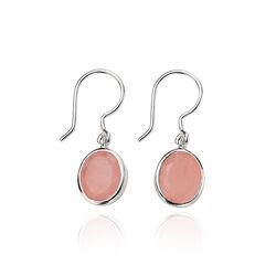 Zilveren oorbellen roze agaat