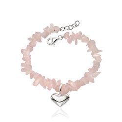 Rozenkwarts armband met zilveren hart
